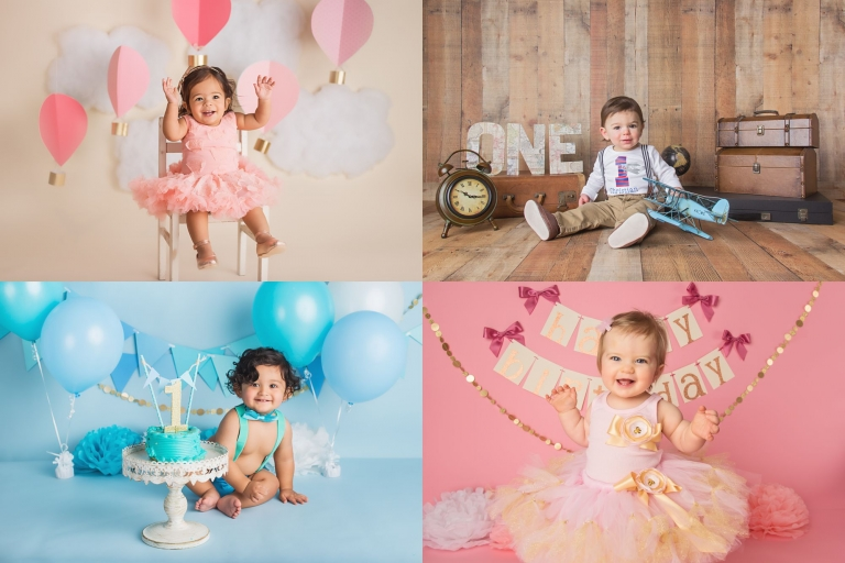 NJ Cake Smash Photographer showing a collage of first birthday photoshoots for boys and girls