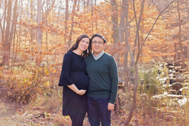 outdoor maternity photos in the Fall; expecting couple photographed by NJ Maternity Photographer